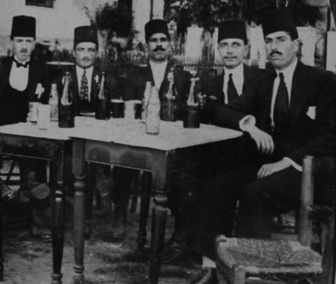 Ottoman Turks drinking Turkish Beer Efes, 1900-?