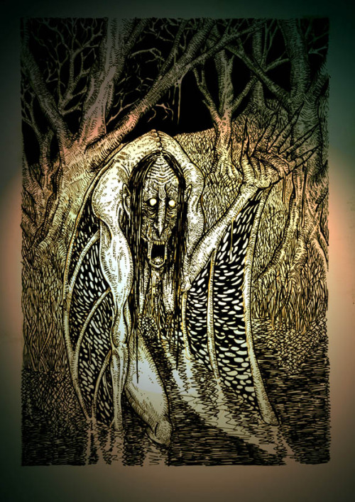 notreallymyname:  The hag of the mist originates in Celtic folklore as a sort of banshee-like creature. Her wails can foretell anything from a minor misfortune to death. If the hag finds the person with whom the misfortune will fall, she may try warning him. By trying to warn him, she might even smother him to death. She cannot speak, she can only wail. So when her point fails to come across as anything other than madness, she'll resort to physical signs of letting the unfortunate-in-question know what's to happen.