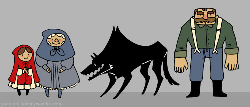 aidosaur:  Unused Little Red Riding Hood Character Designs.  Photoshop. A long while back, I was approached to do a Little Red Riding Hood book.  The project wound up falling through, which is too bad, because it was something I was really looking forward to.  But the character designs remain, as do the final page thumbnails.  Maybe some day I'll do it on my own.  Yuko Ota does Little Red Riding Hood? brb vomiting rainbows