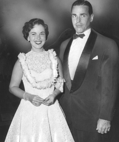 "Shirley Temple Black with husband Charles Black at ""The Egyptian"" premiere, 1954."