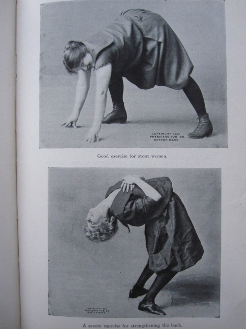 20thcenturypix:  intergalacticacid:  Exercise for stout women. I actually do this back stretch a lot.  1923