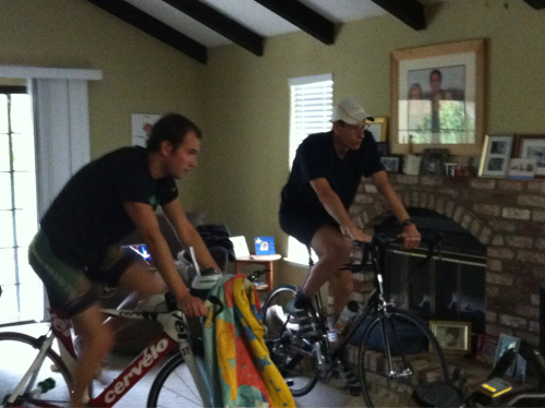 Indoor ride with @veganrunningdad and @mikeportman Rain won't stop us!