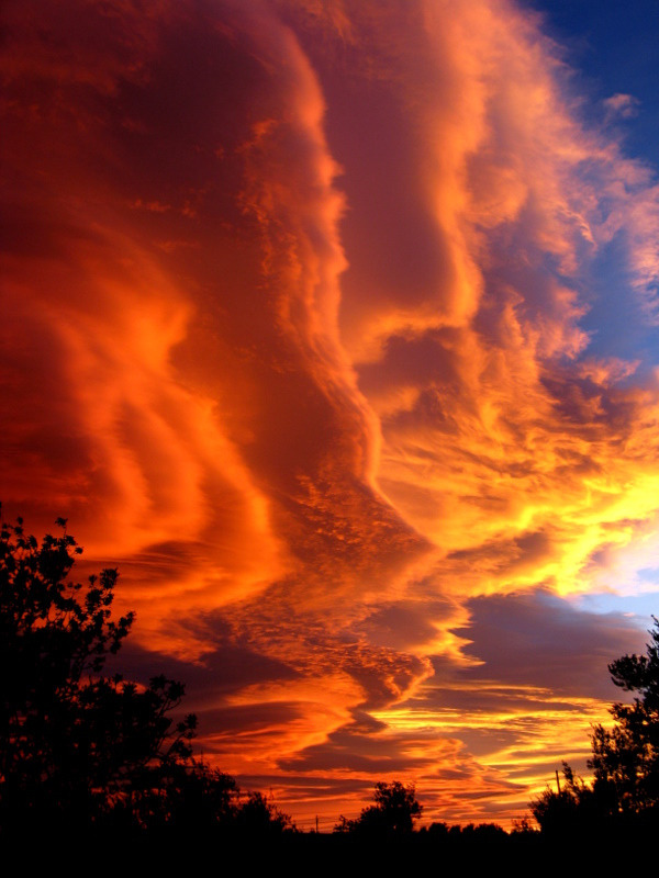 Lenticular clouds at sunset in Catalonia, Spain.