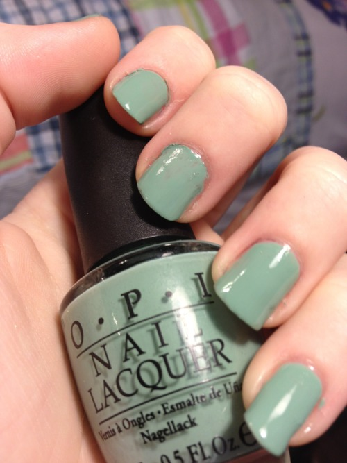 OPI - Mermaid's Tears (Pirates of the Caribbean collection) After wearing dark nails for about a week and a half, I really just wanted something light and spring-y on my nails. Mermaid's Tears was the first and only polish I was drawn to.  Mermaid's Tears is a gorgeous creme dusty sea green color. My only problem with application was caused by the fact that I've had this polish for a while now and use it so much that it's starting to get thick. A drop of polish thinner will do the trick though so I'm not worried about having to throw my favorite polish away. This collection is not in stores anymore but you'll probably be able to find it online!