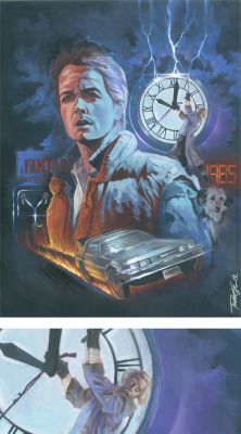 "Who doesn't love Back to the Future!  15""x18"", acrylic on illustration board.  Rarely do we see Doc Brown's dog Einstein celebrated.  You gotta include Einstein.  I mean, he was the first to time travel in the Delorean afterall. By original and prints here!: http://www.etsy.com/listing/96035764/back-to-the-future-15x18-original"