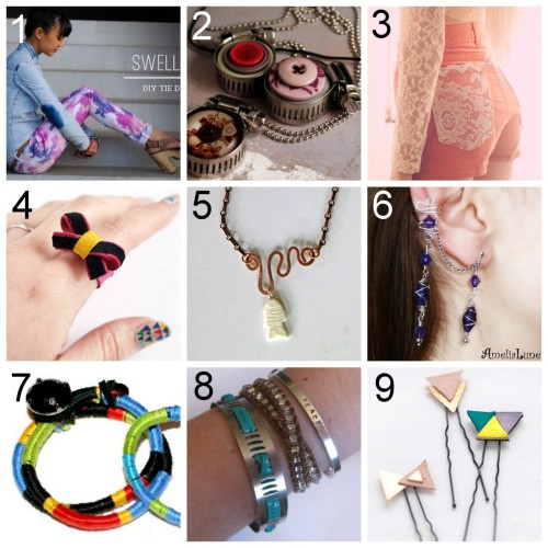 Nine DIY Jewelry and Fashion Tutorials PART 1. Roundup of this past week March 18th - March 24th, 2012. DIY Tie Dye Denim here. Three DIY Hose Clamp Jewelry Tutorials here. DIY Lace Pocket Shorts here. via opiumpoppies  DIY Marc by Marc Jacobs Inspired Suede Bow Ring here. DIY Copper Wire Jewelry here. DIY Basic Ear Cuff and Expanded Version with Wrapped Wire Earrings here. DIY Color Wrap Bracelet here. DIY Hose Clamp Bracelet here. DIY Leather Hair Pins here.