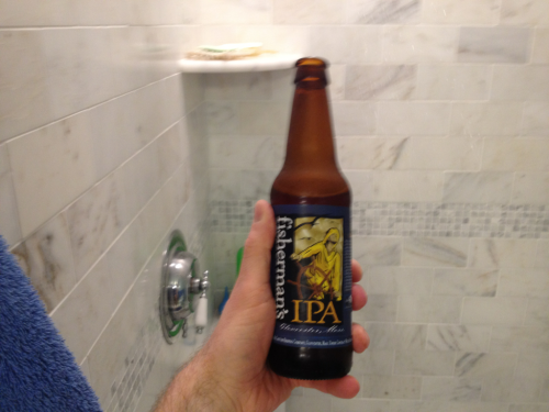After a long Saturday of domestic chores, nothing much beats a shower beer.