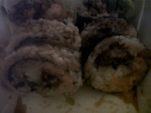 Dinner: Spicy Spider Rolls-Sushi.