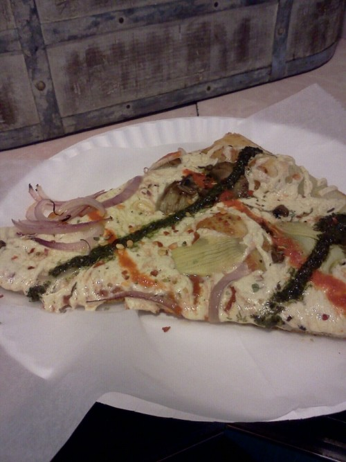 reblogged from skeletonofasprite:  Vegan Pizza- Two Boots Pizza, Bleecker Street New York