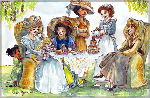 """The Disney Princesses at high tea, drawn to look like their film's ages (Snow White is 75, Cinderella is 62, Aurora is 53, etc.)."""