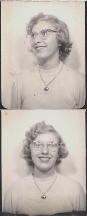 Photobooth strip of young woman with glasses late 1940s/early1950s