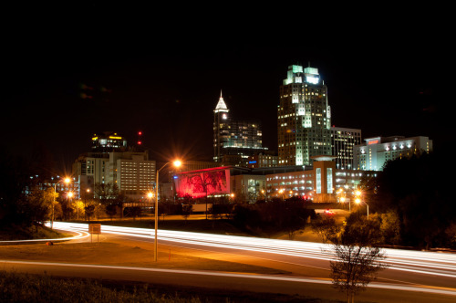Week 13 The skyline of Raleigh, NC taken at night.