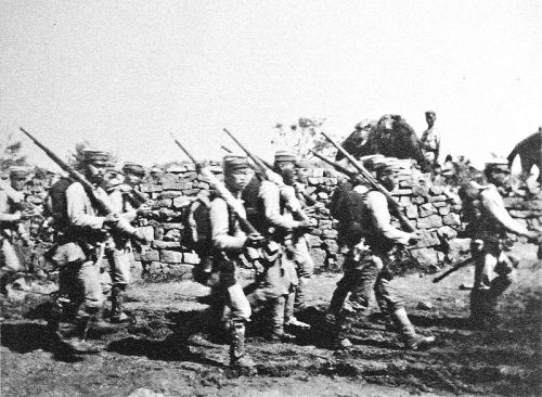 Japanese soldiers near Chemulpo, Korea, during the Russo-Japanese War, 1904