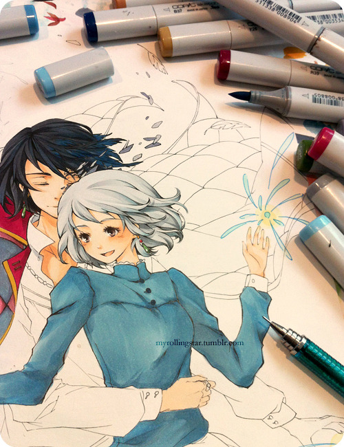 myrollingstar:  Coloring the Howl and Sophie sketch!  Using the last of my spring break to have some fun with my trusty ol' markers! I've neglected them for so long that I barely remember the colors and numbers;;; Really, nothing beats the feel of traditional media and the stinging smell of ethanol ink ( ꒪﹃ ꒪)