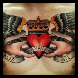"""Nothing is heavy to those that have wings"" done by @paulholland at big kahuna tattoo"