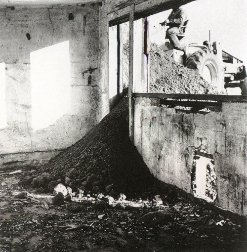 mythologyofblue:   Bernd and Hilla Becher & Robert Smithson, Partially Buried Wood Shed, 1970 [mountains]