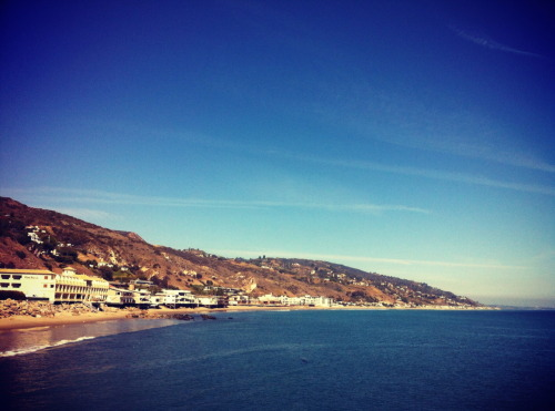 Beautiful shot of Malibu coastline, featuring Malibu Beach Inn on the left…