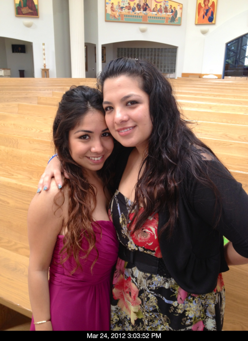 My cousin Fabiola and I after the weddimg