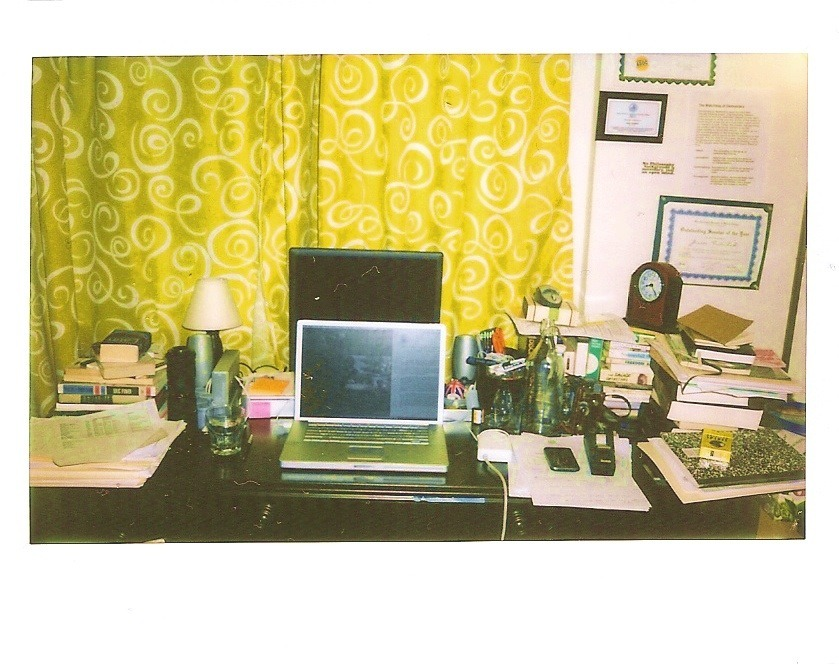my working desk. Taken with a Polaroid