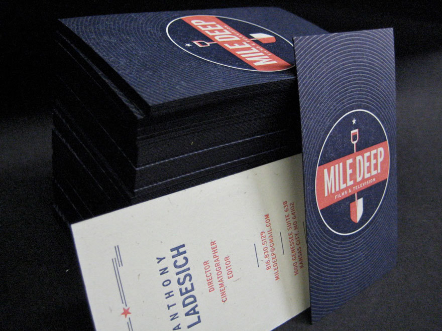 Identity & Business Card design for Mile Deep Films & Televition. Printed on Letterpress. Perfect color match and circular design!  [ via Creattica ]