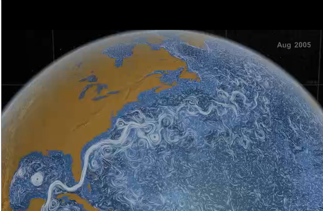 Perpetual Ocean  This visualization shows ocean surface currents around the world during the period from June 2005 through December 2007.