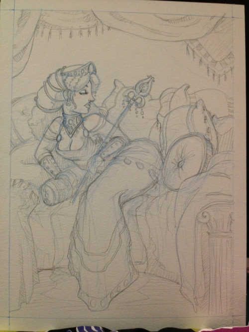 Queen Hera pencil sketch.