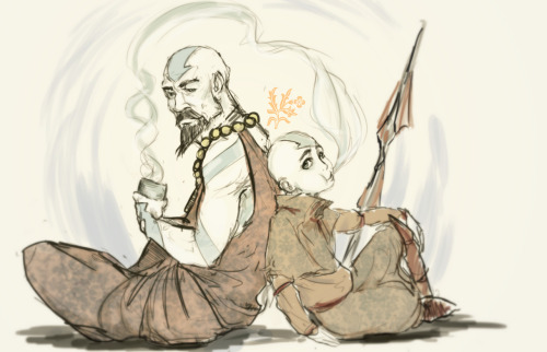jasjuliet:  Tenzin and Aang, or Aang and Tenzin, or maybe Tenzin and Meelo? It's Tenzin and Aang.