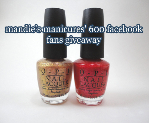 mandiesmanicures:  Hello followers, I am hosting a giveaway on my Facebook fan page (http://www.facebook.com/mandiesmanicures) to show my appreciation to you all. There are two sets of the polishes up for two lucky winners! Be sure to enter before 3/28/2012, 9:00PM PST. If you are following me on tumblr, you get an extra entry. Be sure to leave an extra comment telling me your username. :) Go to the photo to learn more about this giveaway. Good luck! <3 - mandie