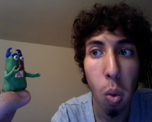 made a green monster person on my finger, then had the most difficult time taking him off without destroying him. But totally made him. damn you clay.