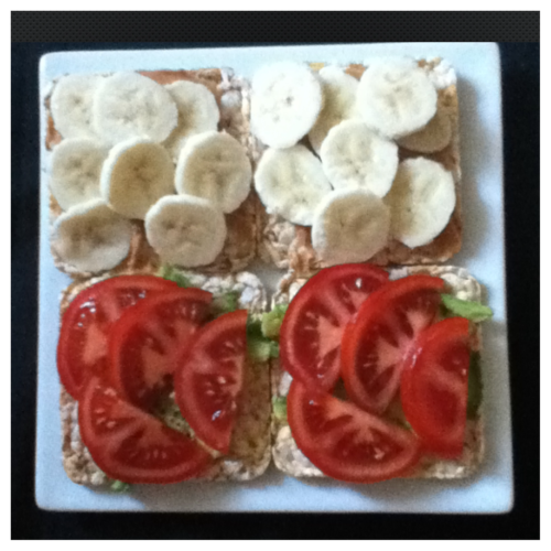 Avocado, tomato, banana, peanut butter. My four favourite foods that I love to mix and match.
