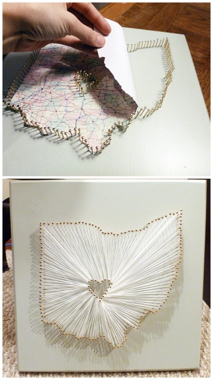 "DIY String Map Art with a Heart in the Middle. I've seen these selling on Etsy and elsewhere. Really good tutorial from The Harpster Home here. *Read comments for more suggestions and tips for making this. More String Art Tutorials:   Really colorful one spelling out ""Rave On"" here. Heart of String here. LOVE String Art in Cursive here."
