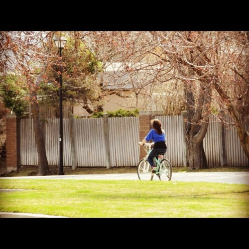 #bike #ride #street #side #walk #sidewalk #girl #nice #day #sunshine #spring #green #grass #fence #light #pole (Taken with instagram)