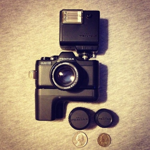 Gifts from my Uncle! Pentax Auto 110…it's so tiny 📷 I hope I can find film for this little guy. (Taken with instagram)