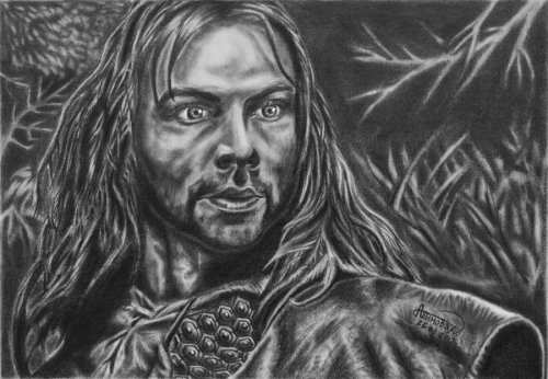 "Aidan Turner as Kili by ~GizTheGunslinger Aidan Turner as Kili from the upcoming movie ""The Hobbit: An Unexpected Journey"".Original size of this drawing is 13,5 x 19,5 cm.Tools: 2H, HB, 2B, 3B, 4B, 6B, 9B."