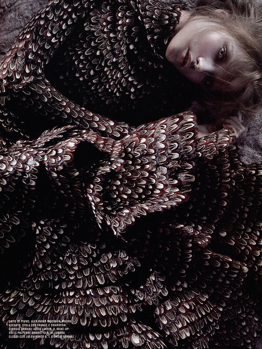 Vlada Roslyakova by Javier Vallhonrat for Flair Italy, October 2006 in Alexander McQueen Fall Winter 2006