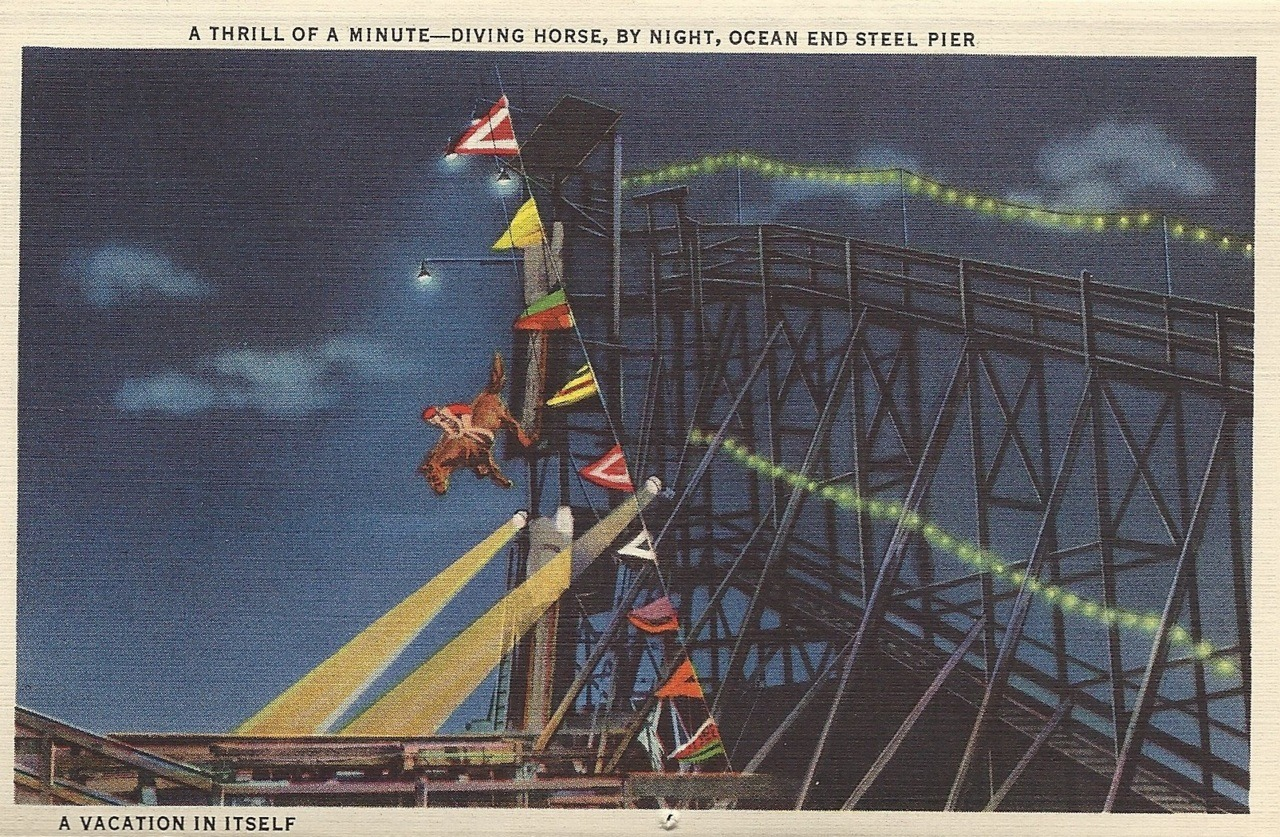 A thrill of a minute - diving horse, by night, ocean end steel pier A vacation in itself