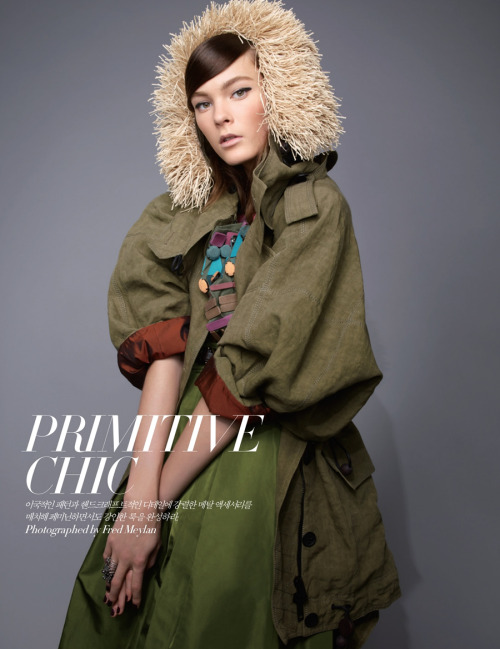 Irina Kulikova stars in Fred Meylan's 'Primitive Chic' editorial for the March issue of Harper's Bazaar Korea. Styled by Mirim Lee, Irina wears designs from Burberry and Burberry Prorsum.         Original Article