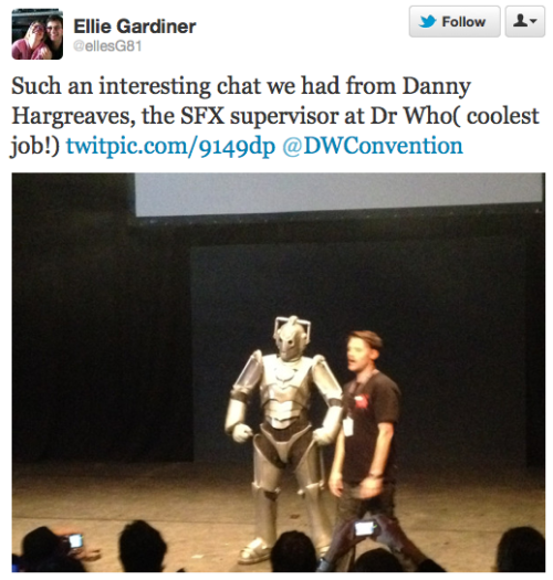 @ellesG81: Such an interesting chat we had from Danny Hargreaves, the SFX supervisor at Dr Who( coolest job!) http://twitpic.com/9149dp @DWConvention