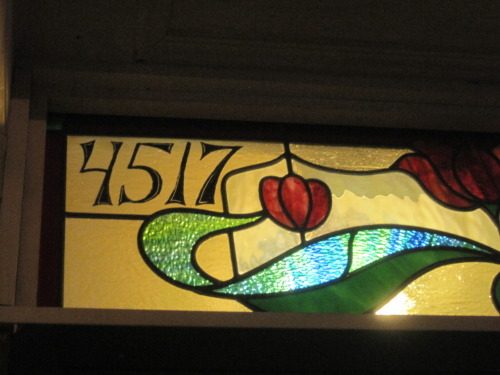 pittsburghisbeautiful:  Stained glass street number above a door on Liberty Avenue, in Bloomfield.