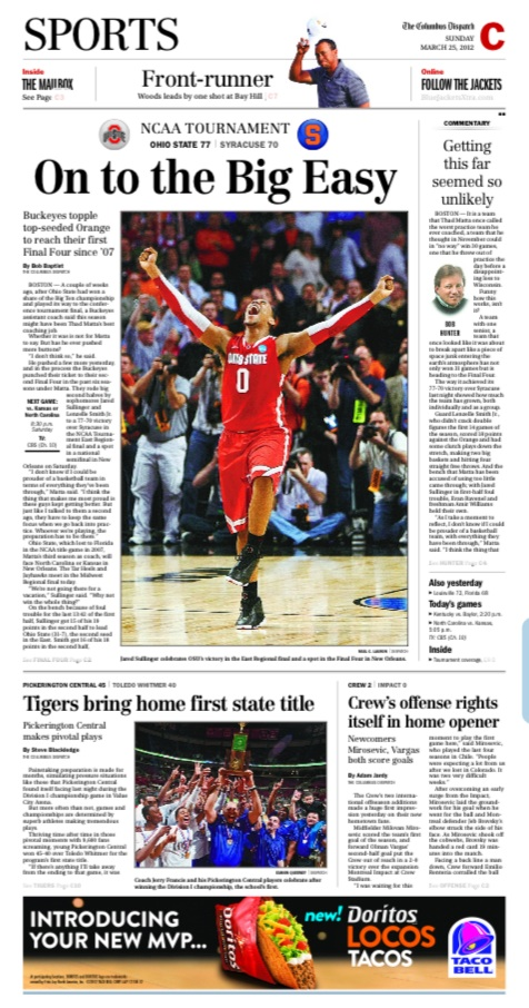 """On to the Big Easy"", today's sports page from the Columbus Dispatch. Go Buckeyes!"