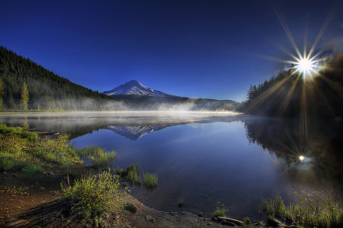 sundefined:  Sunrise at Trillium Lake, Oregon 3 - HDR (by David Gn Photography)