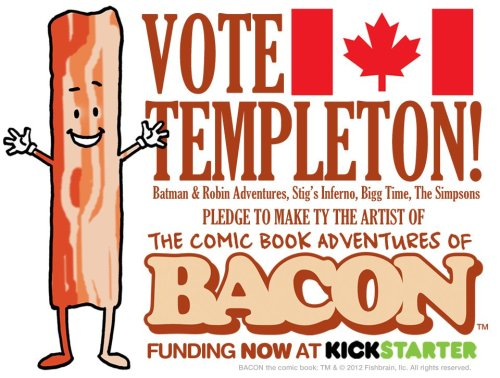 "tytempleton:   ""The Mouth-Watering Adventures of Bacon will take readers on a comic book adventure of power-packed conspiracy and intrigue starring the pork Kwai Chang Caine, Bacon! Targeted for elimination by a mysterious madman and a radical vegetarian group, Bacon must call upon his past experience as a New Your City beat cop to survive. Victory, however, will only come from Bacon's ability to fully embrace the sense of calm and selflessness that has eluded him for so long. There will be intrigue, fistfights, drama, activities, humor and, of course, Bacon.""  This Kickstarter has been set up so every $1 gets you a vote as to which artist you would like to draw the BACON comic book—me, Ty Templeton or Scott Koblish or Phil Winslade. (not even sure who I'd vote for!). Click through and check it out…  Yep. This is real."