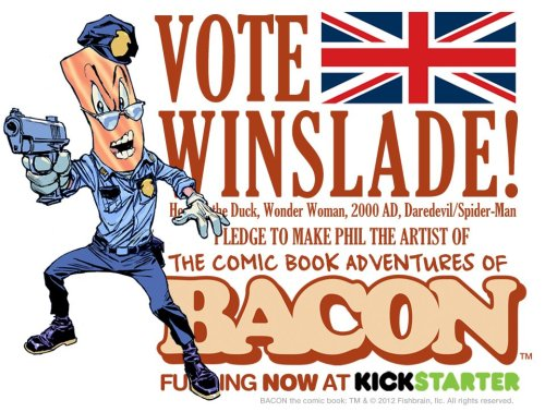 "tytempleton:   ""The Mouth-Watering Adventures of Bacon will take readers on a comic book adventure of power-packed conspiracy and intrigue starring the pork Kwai Chang Caine, Bacon! Targeted for elimination by a mysterious madman and a radical vegetarian group, Bacon must call upon his past experience as a New Your City beat cop to survive. Victory, however, will only come from Bacon's ability to fully embrace the sense of calm and selflessness that has eluded him for so long. There will be intrigue, fistfights, drama, activities, humor and, of course, Bacon.""  This Kickstarter has been set up so every $1 gets you a vote as to which artist you would like to draw the BACON comic book—me, Ty Templeton or Scott Koblish or Phil Winslade. (not even sure who I'd vote for!). Click through and check it out…  Yayyy!! My buddy, Phil Winslade!! (Ty was jealous—he'd been told waaaaaay back when to design Bacon as just a walking strip of bacon…then the other two artists drew him much later. When they both realised that he would have a history as a cop and other stuff, they put him in clothes. I'm trying to keep Ty from re-drawing Bacon and resubmitting a design!)"