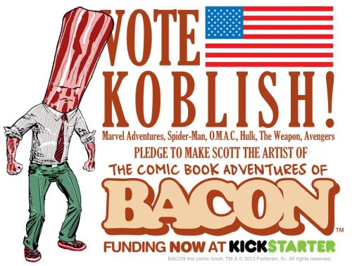 "tytempleton:   ""The Mouth-Watering Adventures of Bacon will take readers on a comic book adventure of power-packed conspiracy and intrigue starring the pork Kwai Chang Caine, Bacon! Targeted for elimination by a mysterious madman and a radical vegetarian group, Bacon must call upon his past experience as a New Your City beat cop to survive. Victory, however, will only come from Bacon's ability to fully embrace the sense of calm and selflessness that has eluded him for so long. There will be intrigue, fistfights, drama, activities, humor and, of course, Bacon.""  This Kickstarter has been set up so every $1 gets you a vote as to which artist you would like to draw the BACON comic book—me, Ty Templeton or Scott Koblish or Phil Winslade. (not even sure who I'd vote for!). Click through and check it out…"