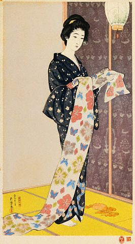 Hashiguchi Goyo, Young Woman in a Summer Kimono, 1920 on Flickr. Image by © Christie's Images/CORBIS
