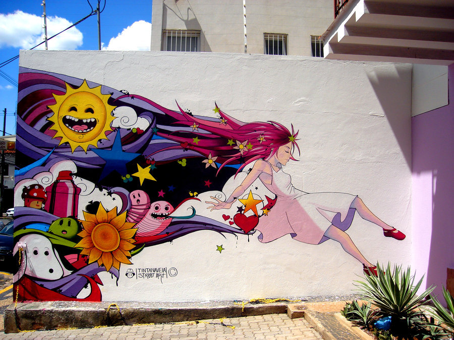 Lucy in the sky graffiti by ~tintanaveia