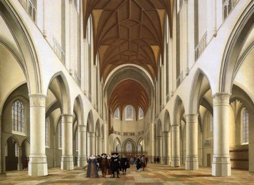 Interior of the Sint-Bavokerk in Haarlem by Pieter Jansz Saenredam, c.1630. I am yet to find an artist who studies church interiors as thoroughly as Saenredam. His work gives you a real sense of the height and grandness of Dutch churches in the Gothic style. In this particular image, the presence of humans in the nave give a further understanding of scale.