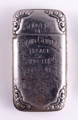 "heckyesamericana:  ca. 1893-94, ""Souvenir of Grand Central Palace Exposition 1893 & 1894 New York City"", [Souvenir matchsafe] via the Cooper-Hewitt National Design Museum, Smithsonian Instution"
