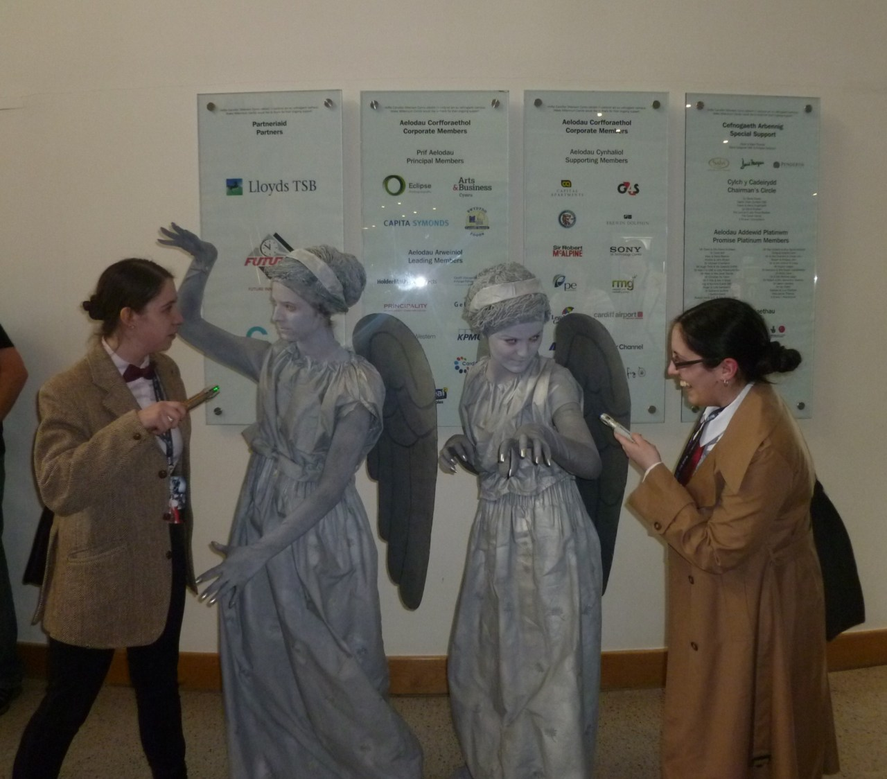 Us and two weeping angels - whoever you are, YOUR COSTUMES WERE UTTERLY AMAZING.
