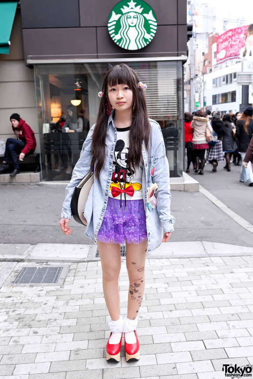 tokyo-fashion:  Denim shirt, tulle skirt, tattoo tights & rocking horse shoes on the street in Harajuku.
